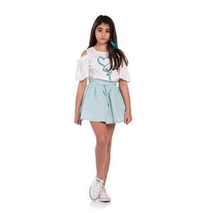 Conjunto Infantil Feminino Blusa Estampada Com Manga Franzida + Saia Godê Verde Agua
