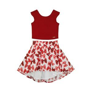 Conjunto Infantil Feminino Blusa Regata Com Decote Na Costas + Saia Mullet De Pregas Vermelho