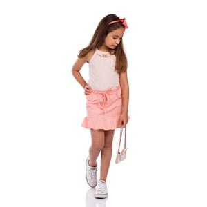 Conjunto Infantil Feminino Blusa Regata + Saia De Babado Godê Com Cinto Rolitê Rose