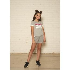 Conjunto infantil feminino blusa + short com duas cores MESCLA CLARO