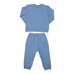Conjunto infantil feminino em moletinho blusa + calça com punhos AZUL CLARO