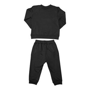 Conjunto infantil feminino em moletinho blusa + calça com punhos Preto