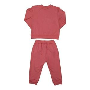 Conjunto infantil feminino em moletinho blusa + calça com punhos ROSE