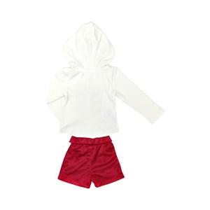 Conjunto Infantil Feminino Jaqueta + Short Em Plush E Malha - 1+1 Vermelho