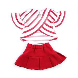 Conjunto Infantil / Kids Bata + Saia Em Crepe Com Patch De Lantejoula - 1+1 Vermelho