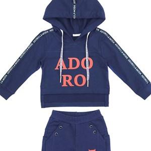 Conjunto Infantil/Kids Feminino Blusa + Calça Em Moletinho Com Lycra - Um Mais Um Marinho