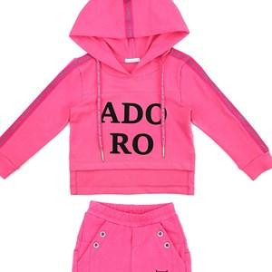 Conjunto Infantil/Kids Feminino Blusa + Calça Em Moletinho Com Lycra - Um Mais Um Pink