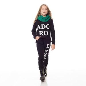 Conjunto Infantil/Kids Feminino Blusa + Calça Em Moletinho Com Lycra - Um Mais Um Preto