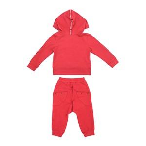 Conjunto Infantil/Kids Feminino Blusa + Calça Em Moletinho Com Lycra - Um Mais Um Vermelho
