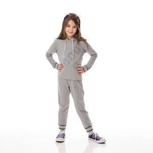 Conjunto Infantil/Kids Feminino Blusa + Calça Em Moletinho De Poliéster Com Lycra - Um Mais Um Mescla Claro