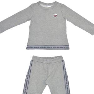 Conjunto Infantil/Kids Feminino Blusa + Calça Em Moletinho De Viscose Com Lycra - Um Mais Um Mescla Claro