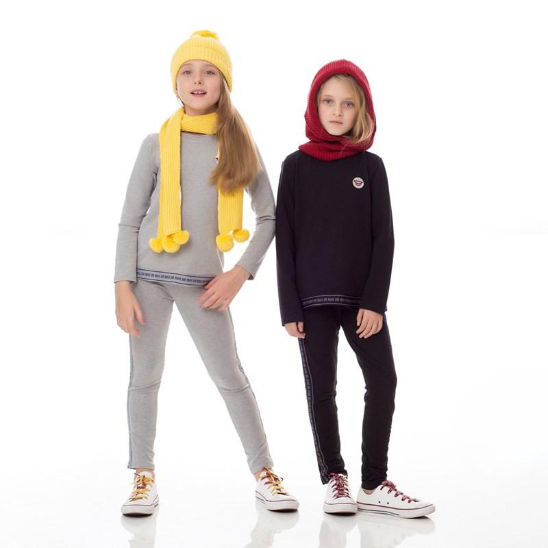 Conjunto Infantil/Kids Feminino Blusa + Calça Em Moletinho De Viscose Com Lycra - Um Mais Um Preto