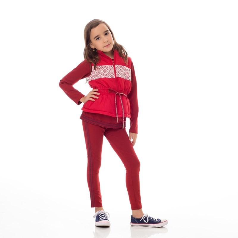 Conjunto Infantil/Kids Feminino Blusa + Calça Em Moletinho De Viscose Com Lycra - Um Mais Um Vinho