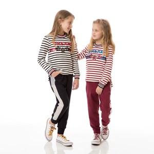Conjunto Infantil/Kids Feminino Blusa + Calça Em Moletom Sem Felpa E Moletinho Com Lycra - Um Mais U Preto