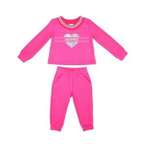 Conjunto Infantil/Kids Feminino Blusa + Calça Em Moletom Sem Felpa - Um Mais Um Pink