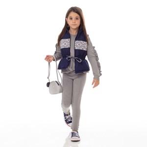 Conjunto Infantil/Kids Feminino Blusa + Legging Em Moletinho De Viscose Com Lycra - Um Mais Um Mescla Claro