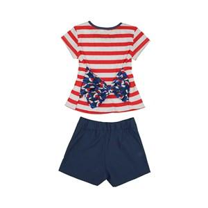Conjunto Infantil / Kids Feminino Blusa+Short-Saia Em Cotton Poliester E Crepe De Chine - 1+1 Marinho