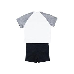 Conjunto Infantil Masculino Camiseta + Bermuda Em Malha Stong E Moletinho - Um Mais Um Preto