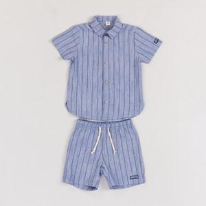 Conjunto infantil masculino camiseta + bermuda jeans listrado AZUL JEANS