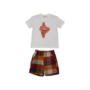 Conjunto infantil masculino camiseta estampa mapa + bermuda xadrez cos elastico MOSTARDA