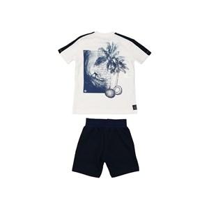 Conjunto infantil masculino camiseta manga curta com faixas laterais + bermuda em moletinho Marinho