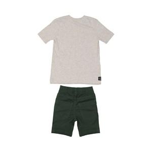Conjunto infantil masculino camiseta manga curta estampada + bermuda em sarja biscaia VERDE