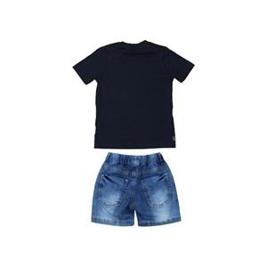 Conjunto infantil masculino camiseta manga curta estampada + bermuda jeans Única