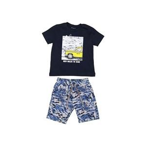 "Conjunto infantil masculino camiseta manga curta ""TAXI"" + bermuda moletom camuflada Marinho"