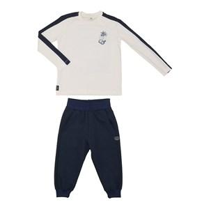 Conjunto infantil masculino camiseta manga longa com faixas laterais + calça em moletinho com punho