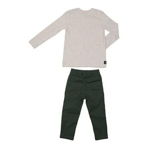 Conjunto infantil masculino camiseta manga longa estampada + calça em sarja biscaia VERDE