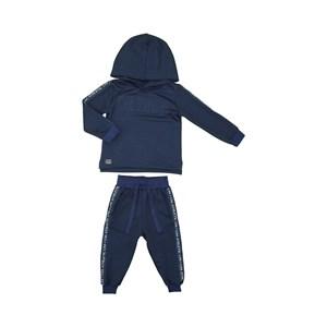 Conjunto infantil masculino moletom com faixas laterais e capuz + calça com faixas laterais e punho