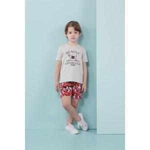 Conjunto infantil masculino t shirt beagle + bermuda estampa corrida de beagles Vermelho