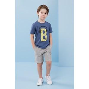Conjunto infantil masculino t shirt estampa headphone + bermuda moletom cos elastico MESCLA CLARO