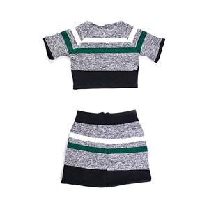Conjunto Infantil / Teen Cropped + Saia Com Zíper Frontal Em Canelado Preto - Twoin Verde