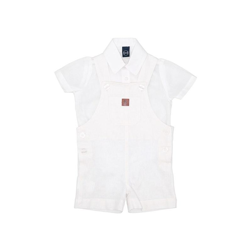 Conjunto Jardineira + Camisa Body Branco