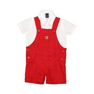Conjunto Jardineira + Camisa Body Vermelho