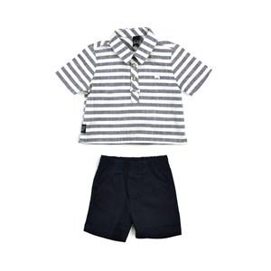 Conjunto Masculino Infantil / Baby Bata + Bermuda Em Listrado Com Linho E Sarja  - Um Mais Um Marinho