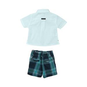 Conjunto Masculino Infantil / Baby Bata + Bermuda Em Tricoline Listrado  E Xadrez - Um Mais Um Turquesa