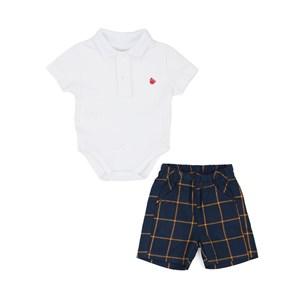 Conjunto Masculino Infantil / Baby Body Em Piquet Com Patch De Passarinho + Bermuda Com Xadrez Flane Marinho