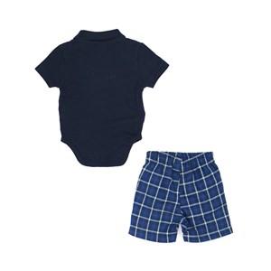 Conjunto Masculino Infantil / Baby Body Em Piquet Com Patch De Passarinho + Bermuda Com Xadrez Flane Azul