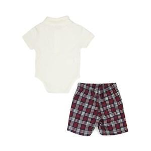 Conjunto Masculino Infantil / Baby Body Em Piquet Com Patch De Passarinho + Bermuda Com Xadrez Flane Vermelho