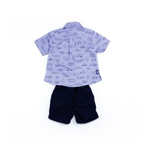 Conjunto Masculino Infantil / Baby Camisa + Bermuda Em Tricoline Com Estampa - Um Mais Um Marinho
