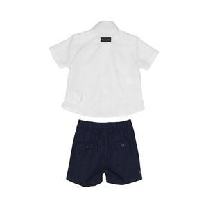 Conjunto Masculino Infantil / Baby Camisa + Bermuda Em Tricoline Listrado E Linho  - Um Mais Um Marinho