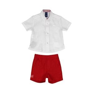 Conjunto Masculino Infantil / Baby Camisa + Bermuda Em Tricoline Listrado E Linho  - Um Mais Um Vermelho