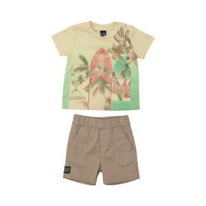 Conjunto Masculino Infantil / Baby Camiseta + Bermuda Em Malha Com Linho E Sarja C Lycr - Um Mais Um Caqui