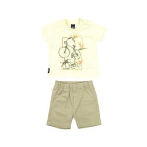 Conjunto Masculino Infantil / Baby Camiseta + Bermuda Em Malha Com Linho E Sarja  - Um Mais Um Caqui