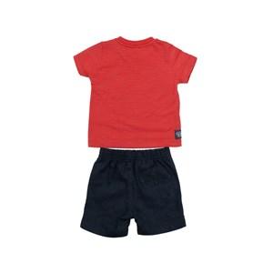 Conjunto Masculino Infantil / Baby Camiseta + Bermuda Em Malha Com Listras E Linho  - Um Mais Um Marinho