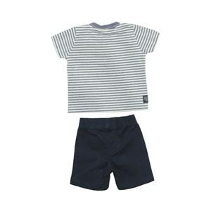 Conjunto Masculino Infantil / Baby Camiseta + Bermuda Em Malha Flame Listrada E Sarja - Um Mais Um Marinho
