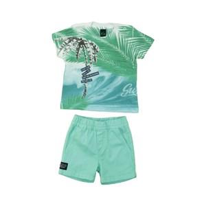 Conjunto Masculino Infantil / Baby Camiseta + Bermuda Em Malha Pa E Sarja Com Lycra  - Um Mais Um Verde
