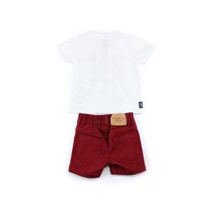 Conjunto Masculino Infantil / Baby Camiseta + Bermuda Em Malha Pa E Sarja Com Lycra - Um Mais Um Vinho